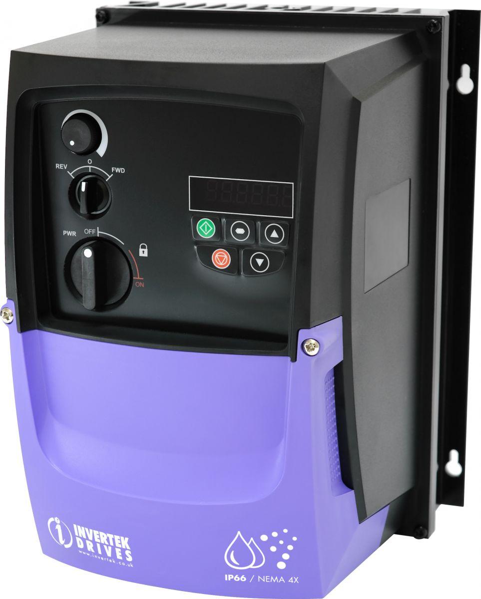 Frequentie sturing - Opti Drive - VT/VC/CBS AC E2 tot 1.5kW; 230V; IP66; ingang 1 x 230V; uitgang 3x230V  - kan afzonderlijk dienen zonder sturingskast onder IP66 - FN10058N
