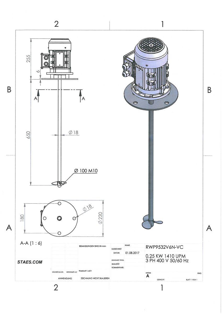 ROERWERK type 1: 1500rpm/0,25kW/400V - RW9532V6N