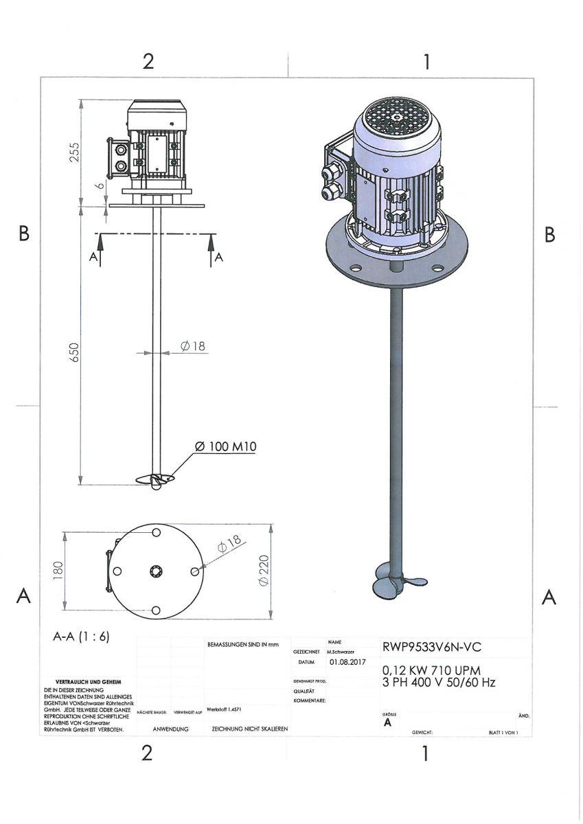 ROERWERK type2: 750rpm/0,12kW/400V - RW9533V6N