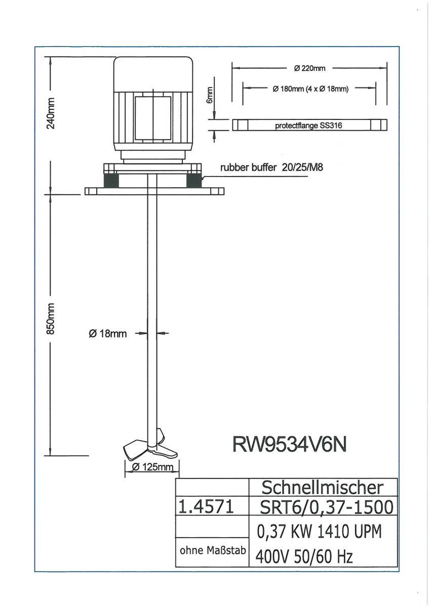 ROERWERK type 1: 1500rpm/0,37kW/400V - RW9534V6N