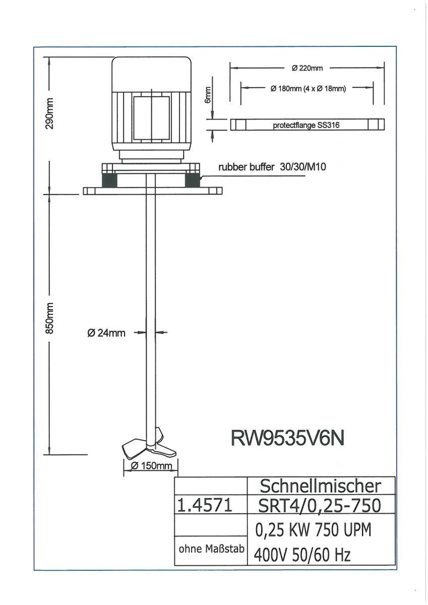 ROERWERK type2: 750rpm/0,25kW/400V - RW9535V6N