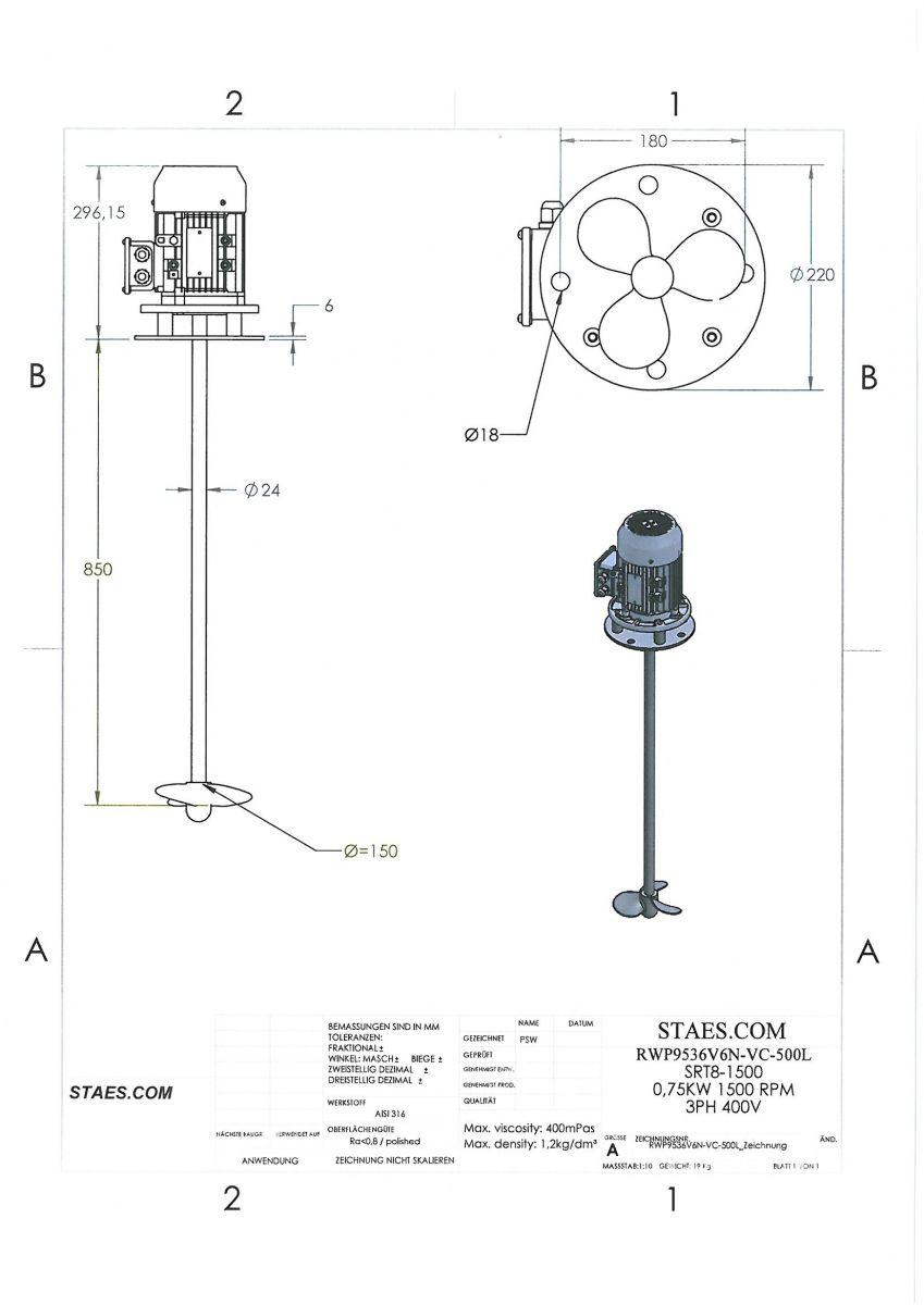 ROERWERK type 1: 1500rpm/0,75kW/400V - RW9536V6N