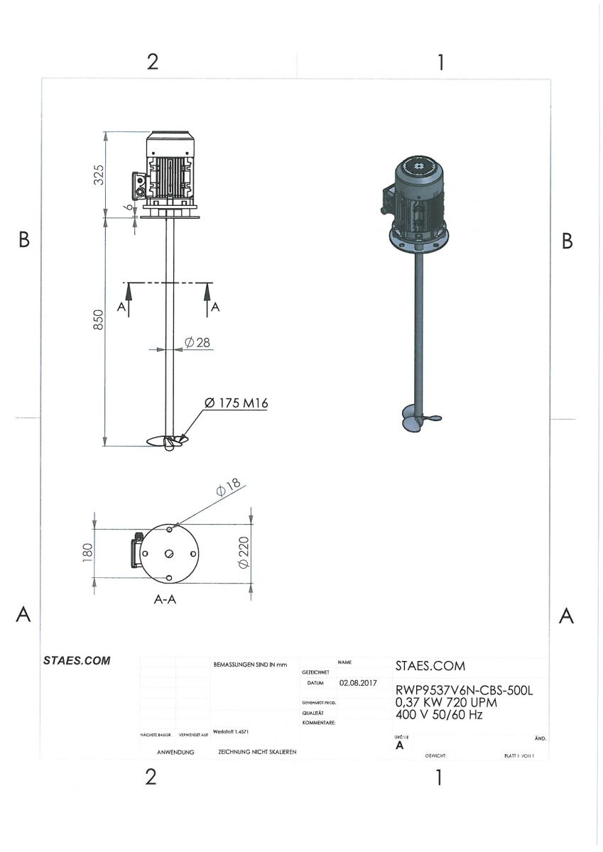 ROERWERK type2: 750rpm/0,37kW/400V - RW9537V6N
