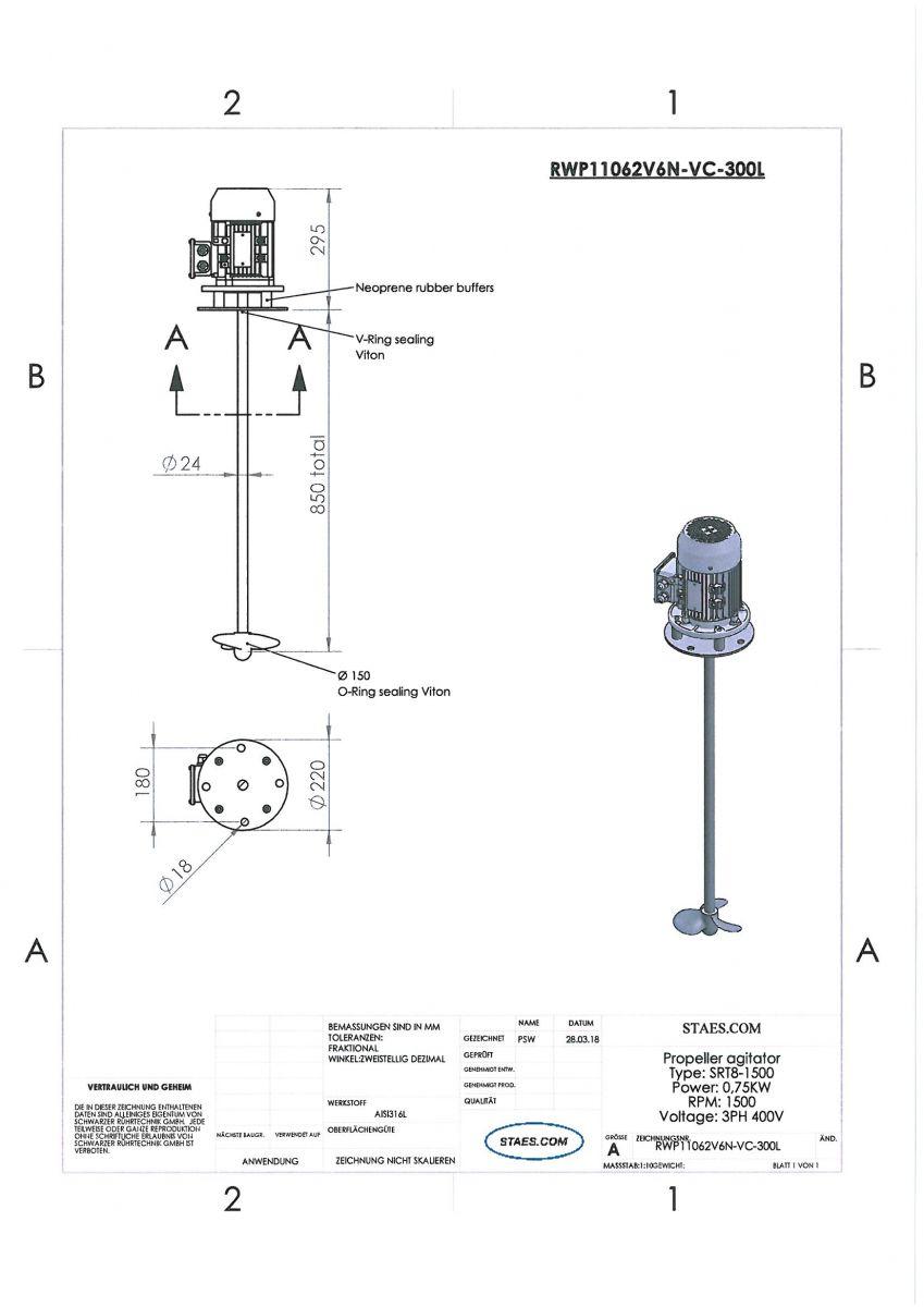 ROERWERK type 3: 1500rpm/0,75kW/400V - RWP11062V6N-VC-300L
