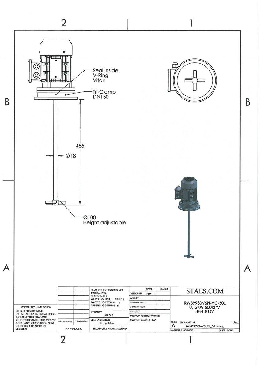 ROERWERK type 2: 600rpm/0,12kW/400V - RWB9930V6N-VC-50L - AISI316L - incl. 1 x 4-Blade impeller + 1 x klem DN150 + 1 x Dichting DN150