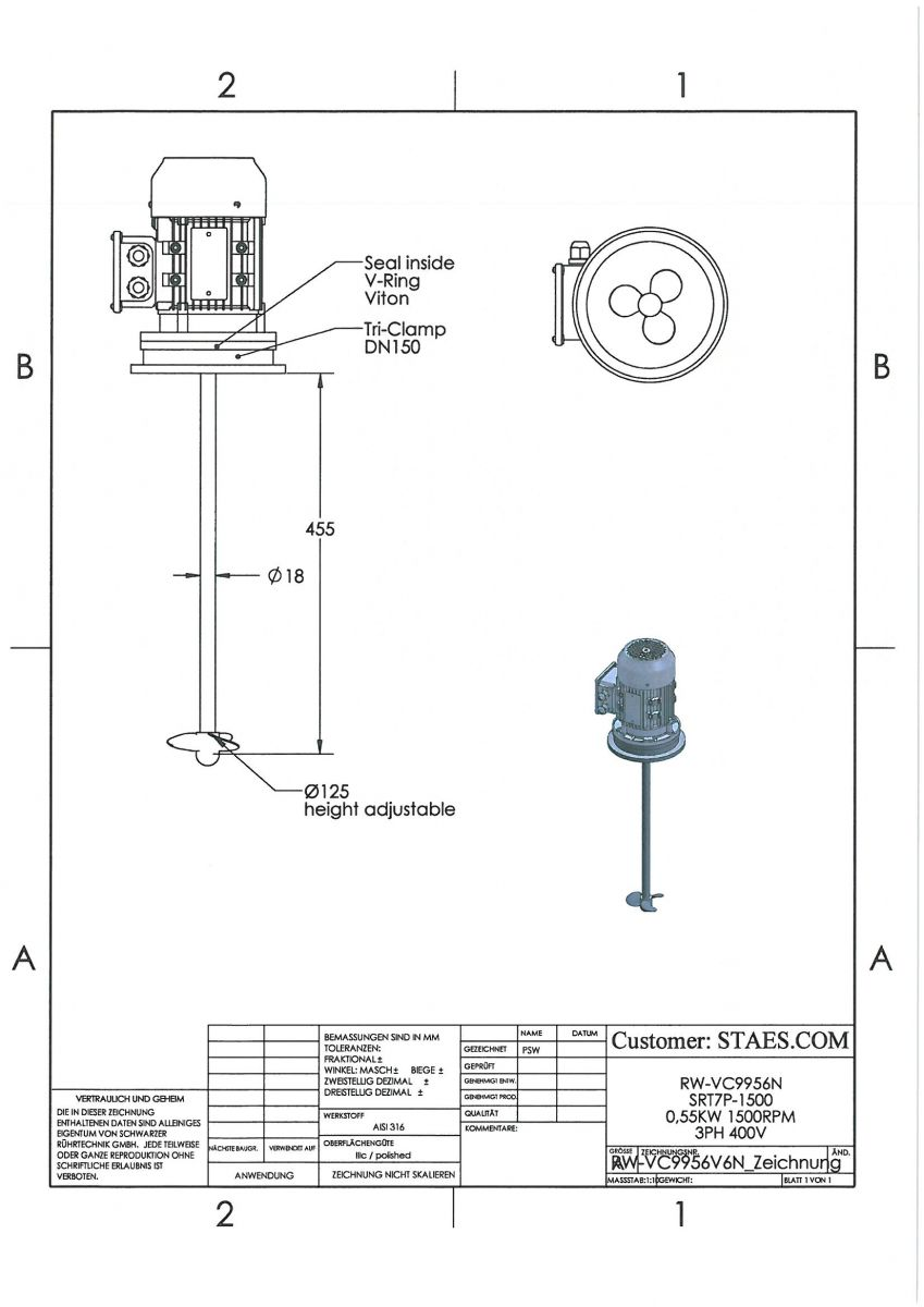 ROERWERK type 1: 1500rpm/0,55kW/400V - RWP9956V6N-VC-50L - AISI316L - incl. 1 x popeller + 1 x klem DN150 + 1 x Dichting DN150