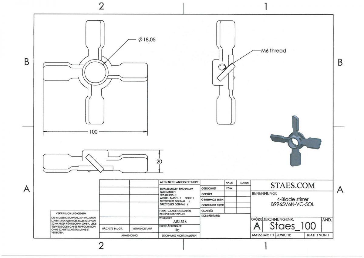 Extra 4-Blade impeller AISI316L - VC-50L - B9965V6N - extra