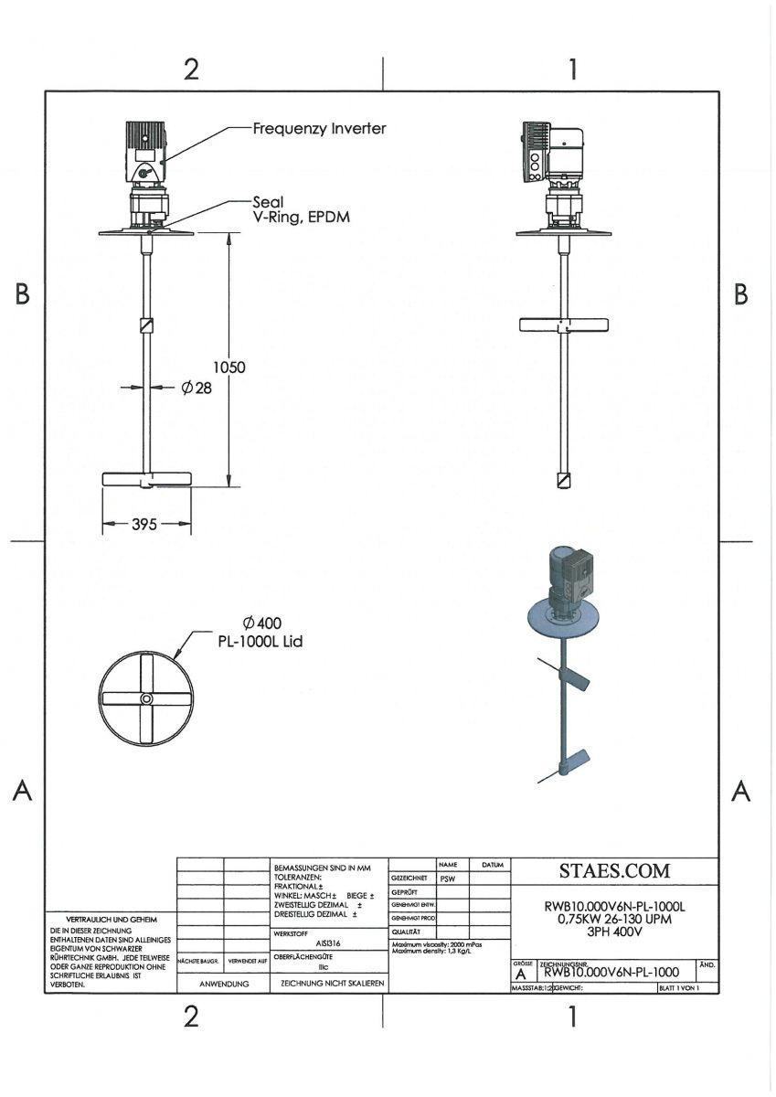 ROERWERK type 2: 26-130rpm/0.75kW/400V - RWB10.000V6N-PLO-1000L - AISI316L - incl. 2 x 2-Blade impeller + 1 x Deksel + 1 x Dichting