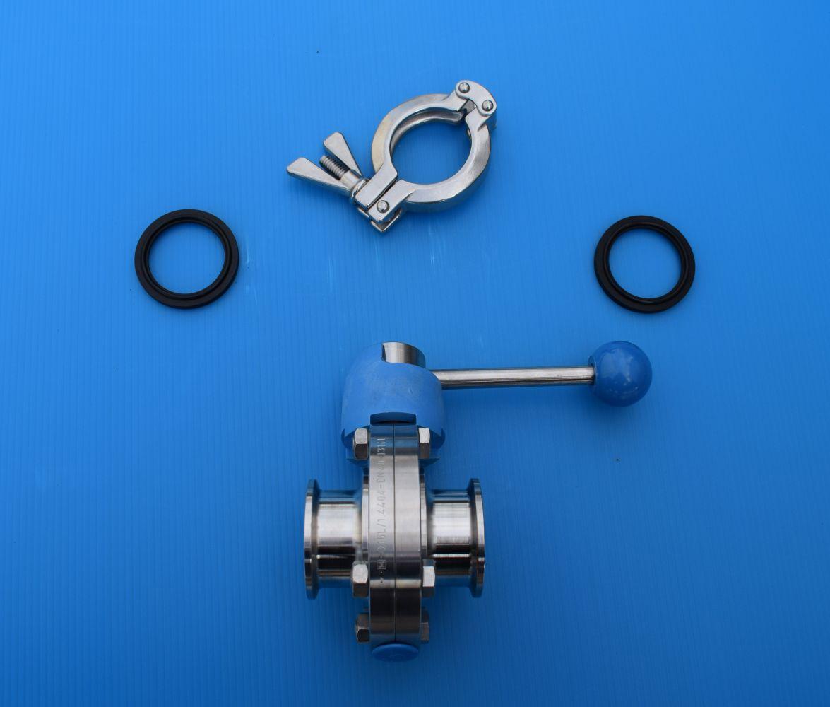 DN40 Set vlinderklepkraan clamp/clamp SV RVS 316 (V4A) AISI316 DIN32676 EPDM - VKK10433CCSVEP40
