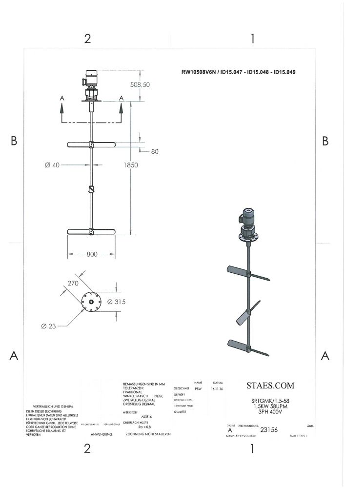 ROERWERK 58rpm/1.5kW/400V - RWB-K10508V6N - AISI316