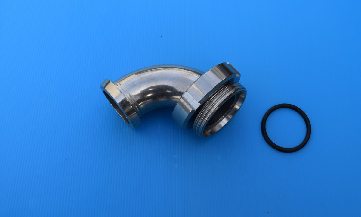 DN32 Set koppelbocht draadstuk/puntstuk-wartel 90° geslepen R=55 RVS 316 (V4A) AISI316 DIN11852/11851 EPDM - SET KB10967MLEP32