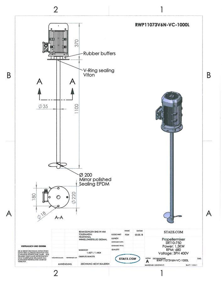 RUHRWERKE type 1: 680rpm/1,5kW/400V - RWP11073V6N-VC-1000L