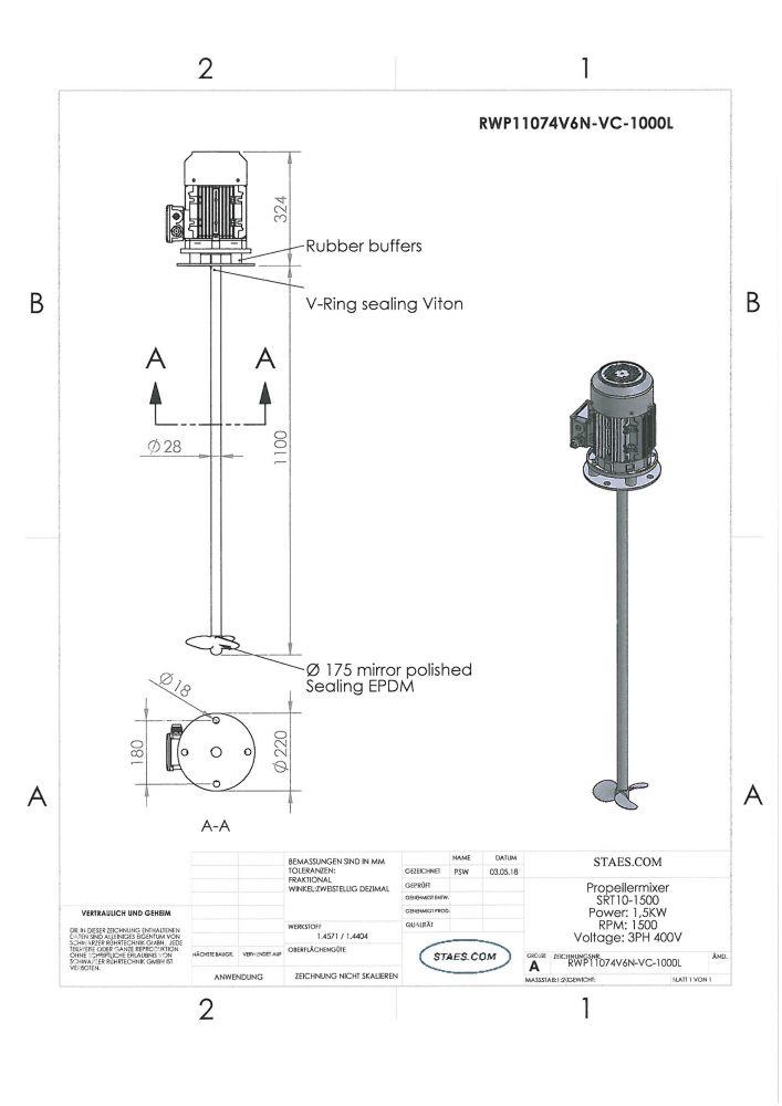 RUHRWERKE type 2: 1.500rpm/1,5kW/400V - RWP11074V6N-VC-1000L